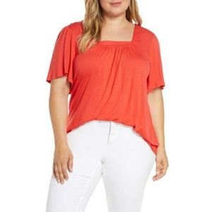Bobeau 'Kate' Square Neck Blouse in Coral
